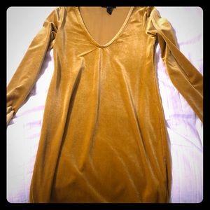 Velvet gold dress. Forever 21